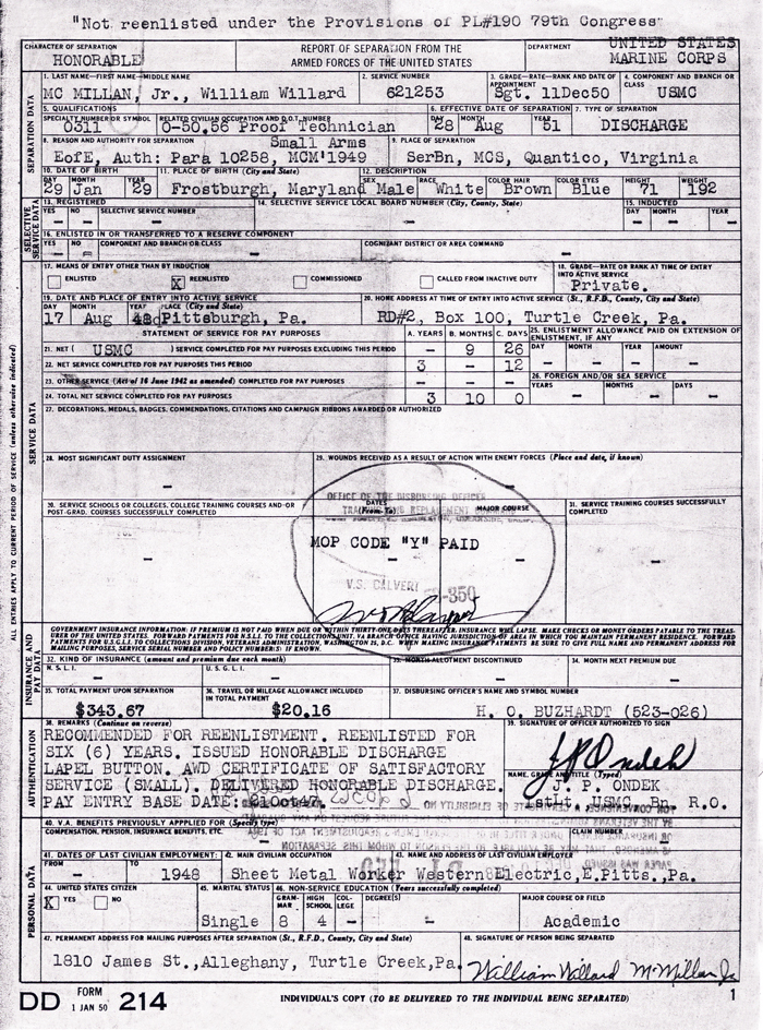 Honorable Discharge Certificate