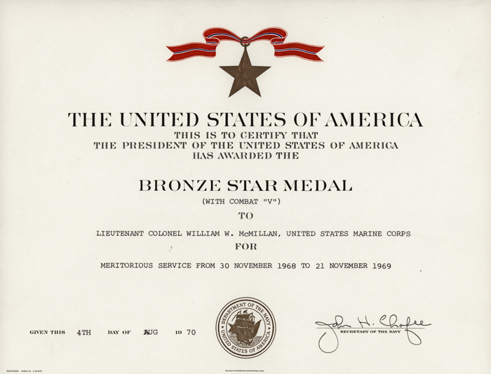 bronze star award certificate