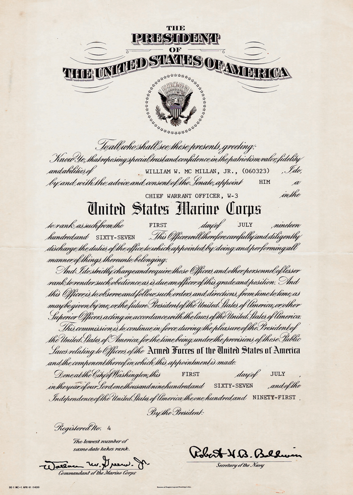 Promotion promotion warrant usmc for Officer promotion certificate template