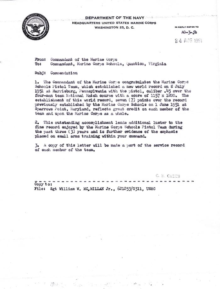 August 24 1951 Letter of mendation